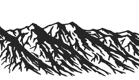 白い背景で隔離の山の範囲