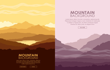 lifeless: Set of vertical flyers with mountain landscapes. Yellow and purple mountain ranges at sunset. Vector illustration.