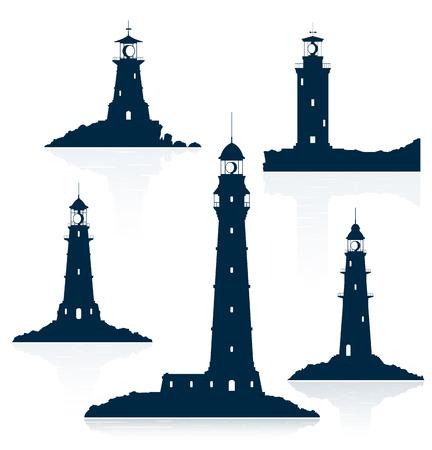 Lighthouses set isolated on white background. Vector illustration.
