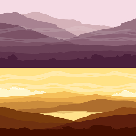 ranges: Set of mountain landscapes. Yellow and purple backgrounds with mountain ranges at sunset. Vector illustration.