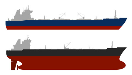 Set of 2 oil tankers isolated white background. Vector illustration Stock Photo
