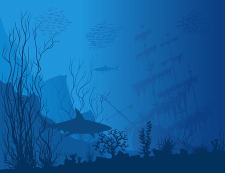 Blaue Unterwasserlandschaft mit versunkenem Schiff, Haifische und sehen Unkräuter. Gezeichnete Illustration des Vektors Hand.