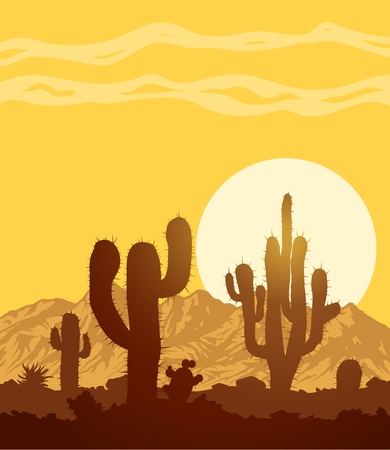 Sunset in stone desert with cacti and mountain range. Vector landscape illustration.