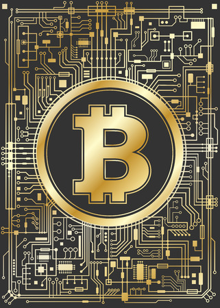 Golden bitcoin digital currency. Futuristic chipset technology network concept. Vector veretical illustration.
