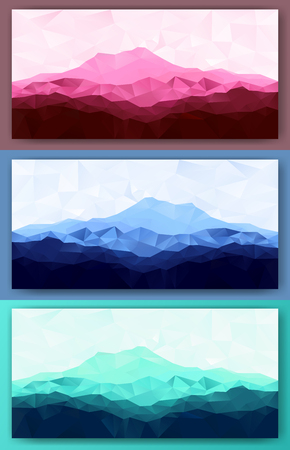 Triangle low poly polygonal mountain range backgrounds set. Vector illustration. 向量圖像