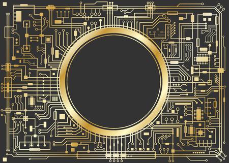 ゴールド チップセット デジタル背景黒に分離されました。CPU 技術コンセプト。ベクトルの水平図。