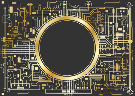 Gold chipset digital background isolated on black. CPU technology concept. Vector horizontal illustration. Stock Illustratie