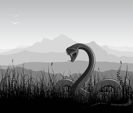 Landscape with angry snake, grass, and mountains. Black and white vector illustration. Illustration