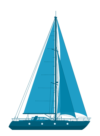 Blue sailing yacht isolated on white background. Vector illustration.