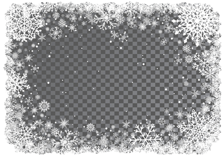 Christmas white frame of snowflakes on transparent background. Snowfall. New-Year winter background. Vector illustration.