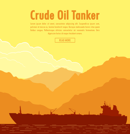 Huge oil tanker near sea shore with mountain range at sunset. Vector illustration