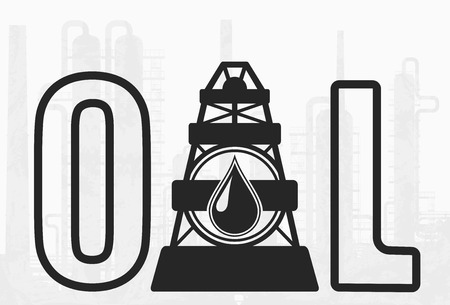 Oil Drilling Company Simbol. Vector oil lettering and drilling rig icon on background with huge refinery.