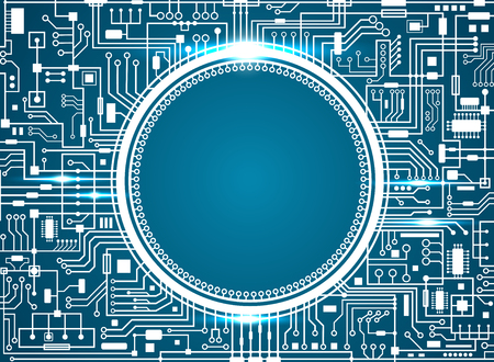 Computer circuit board with copy-space. Vector illustration.