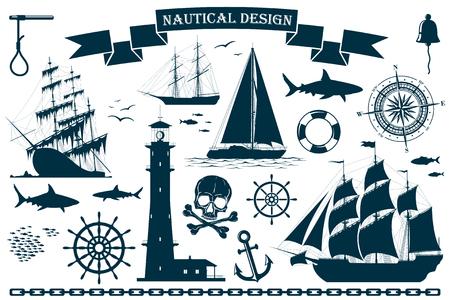 Conjunto de veleros con elementos de diseño náutico. Ilustración vectorial Ilustración de vector