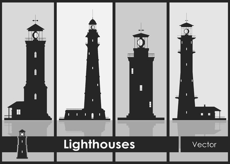 Lighthouses. Set of silhouettes of large lighthouses over grey background 矢量图像