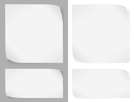 Set of white paper stickers over gray and white backgrounds. Vector EPS10.