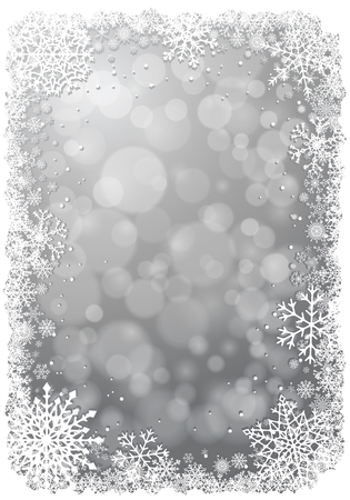 Silver Christmas background with white frame of snowflakes. Winter Christmas vector illustration with place for text.