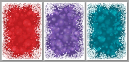 Set of Christmas cards with white frame of snowflakes. Winter illustrations with ultra violet, green and red blurred bokeh backgrounds in Trend Colors of Fall and Winter 2018 and copy-space. Vector. 矢量图像