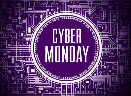 Cyber monday sale design template. Ultra violet technology background. Vector illustration. 矢量图像