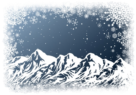 Christmas greting card with huge mountain range and white frame of snowflakes on dark blue background. New-Year winter vector illustration with copy-space. 矢量图像