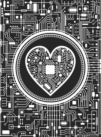 Valentines day black and white vertical background. Abstract technology heart. IT love symbol. Vector illustration.