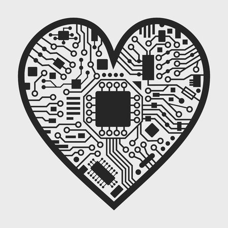 Cyber technology heart. Valentines day background with love symbol. Vector black and white illustration. 矢量图像