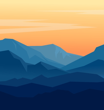 Vector landscape with blue silhouettes of mountains and orange evening sky. Huge geometric mountain range silhouettes in twilight. Vector illustration. 矢量图像