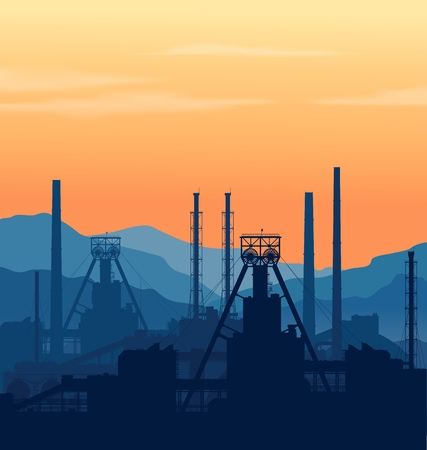 Mineral fertilizers plant over blue great mountain range at sunset. Detail vector illustration of large chemical manufacturing plant. Illustration