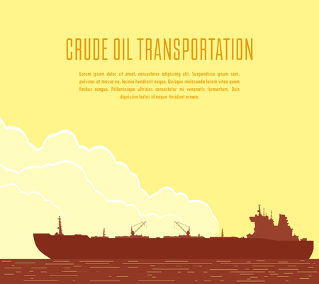 Huge crude oil tanker in the sea. Landscape with commercial supertanker over yellow sky with big clouds at sunset. Vector illustration Stock Illustratie