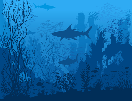 Blue underwater landscape with sharks, fishes, coral reefs, huge rocks and see weeds. Tropical undersea world. Vector detail hand drawn illustration of sea-life.