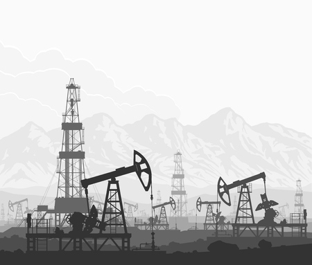 Oil pumps and drilling rigs at large oilfield over huge mountain range. Detail vector black and white illustration.