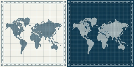 Dotted world maps set over blueprint background. Vector retro illustration.