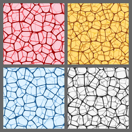Abstract backgrounds set with colored reticulated nets. Vector illustration