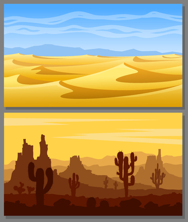 Set of desert landscapes with yellow sand dunes, cacti, succulents, mountains and blue sky. Vector illustration.