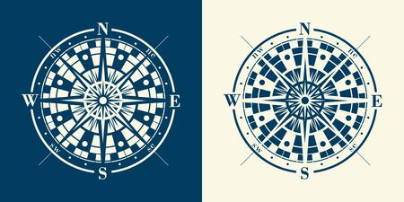 Set of isolated marine wind roses silhouettes. Compass rastrer navigation label illustrations.