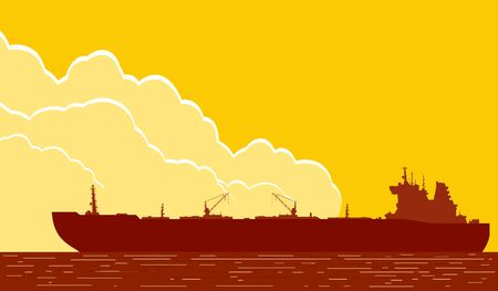 Huge crude oil tanker in the sea. Landscape with commercial supertanker over yellow sky with big clouds at sunset. Rastrer illustration