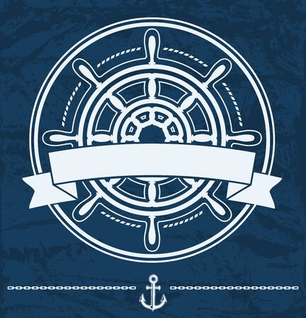 Ship steering wheel nautical corporate emblem with banner on blue grunge background. Rastrer illustration.