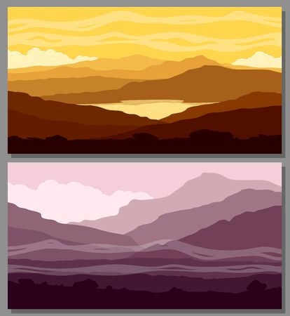 Mountain landscapes set. Yellow and purple mountain ranges at sunset. Rastrer illustration.