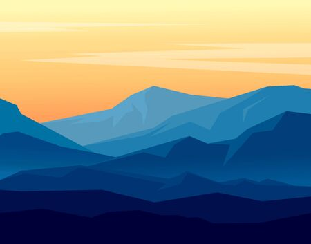 Rastrer landscape with blue silhouettes of mountains on orange evening sky. Huge geometric mountain range in twilight. Rastrer illustration.