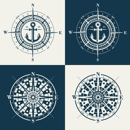 Set of isolated marine wind roses silhouettes. Compass rastrer navigation symbol illustrations.