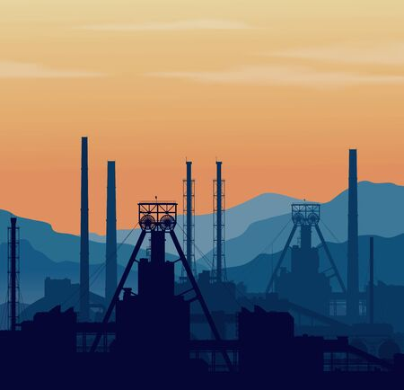 Mineral fertilizers plant over blue great mountain range at sunset. Detail rastrer illustration of large chemical manufacturing plant.