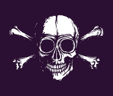 Human skull with bones. white silhouette isolated on dark ultra violet background. Hand drawn skull raster illustration 免版税图像