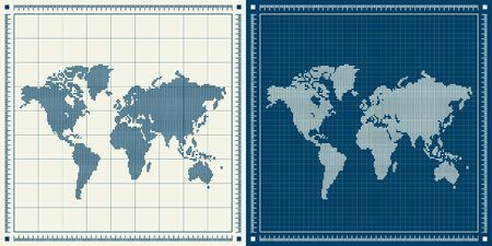 Dotted world maps set over blueprint background. Raster retro illustration.