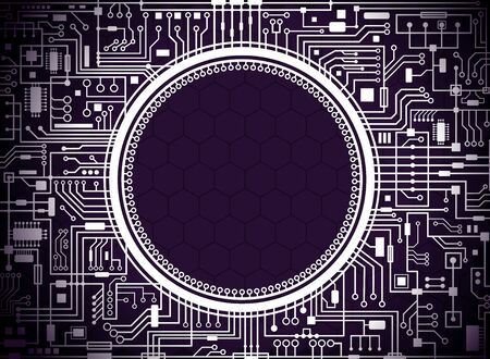 Computer circuit board on violet background with round copy-space in the center. Futuristic technology concept banner. Raster hi-tech horizontal illustration. 免版税图像