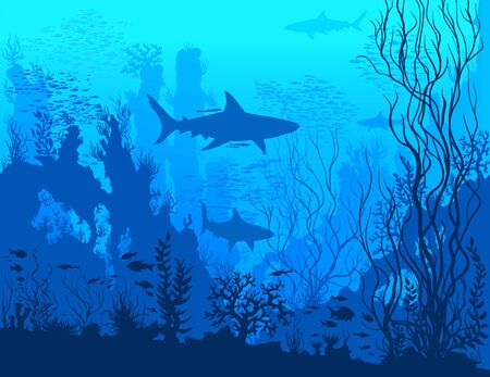 Blue underwater landscape with sharks, fishes, coral reefs, huge rocks and see weeds. Tropical undersea world. Raster detail hand drawn illustration of sea-life. 免版税图像