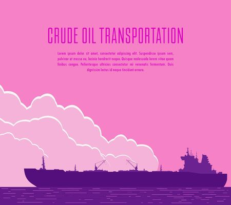 Huge crude oil tanker in the sea. Landscape with violet commercial supertanker over pink sky with big clouds in the evening. Raster illustration