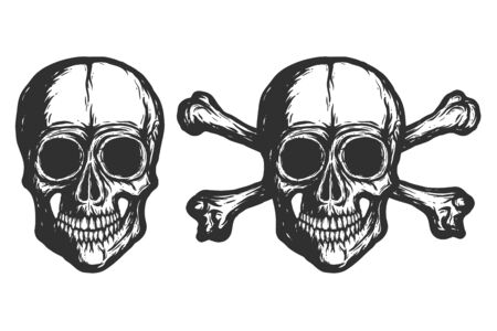 Set of Human skulls with bones silhouettes isolated on white background. Hand drawn black and white illustration. Tattoo skulls or print design. Raster