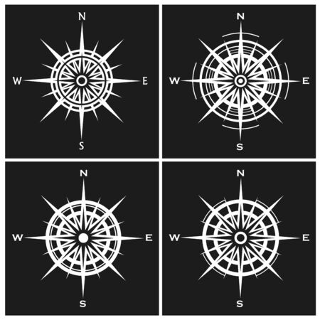 Set of compass roses or wind roses.