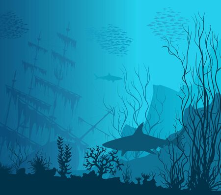 Blue underwater landscape with sunken ship, sharks and see weeds.  Hand drawn illustration.