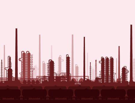 Rafineria ropy i gazu lub zakład chemiczny ze zbiornikami kolejowymi. Ceny i rafinacja ropy naftowej. Przemysł ciężki niebieskie tło. Ilustracja rastrowa